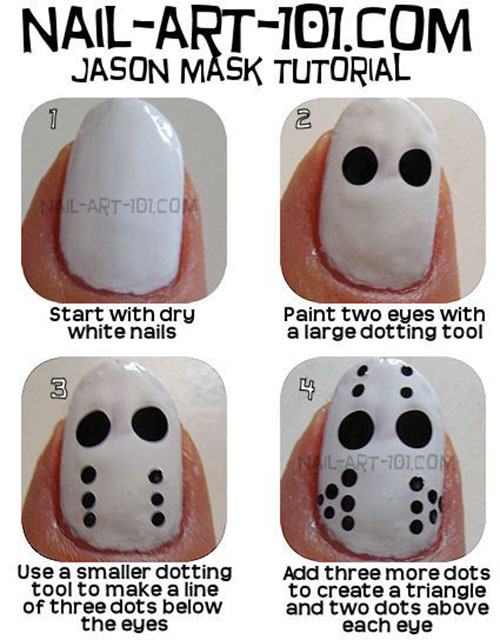 18 Easy Step By Step Halloween Nails Art Tutorials For Beginners ...