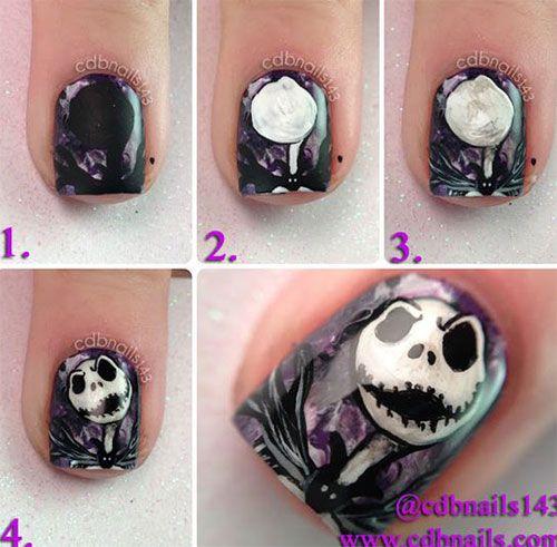 18-Easy-Step-By-Step-Halloween-Nails-Art- - 18 Easy Step By Step Halloween Nails Art Tutorials For Beginners