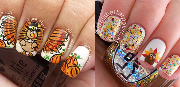 12 Turkey Nail Art Designs & Ideas 2017 | Thanksgiving Nails