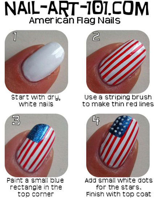 10+ Easy Step By Step 4th of July Nails Tutorials For Beginners 2018 ...