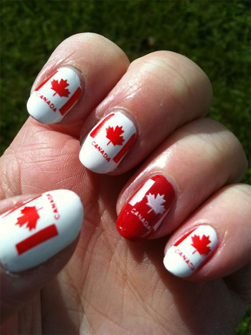 15-Canada-Flag-Nails-Art-Designs-&-Ideas-2018-13