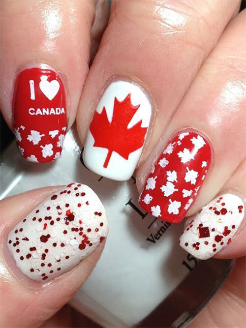 15-Canada-Flag-Nails-Art-Designs-&-Ideas-2018-14