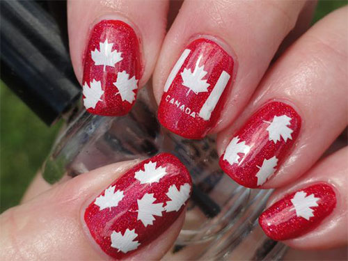 15-Canada-Flag-Nails-Art-Designs-&-Ideas-2018-3