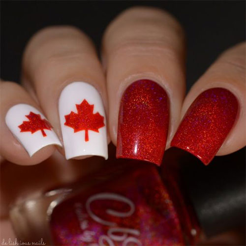 15-Canada-Flag-Nails-Art-Designs-&-Ideas-2018-6