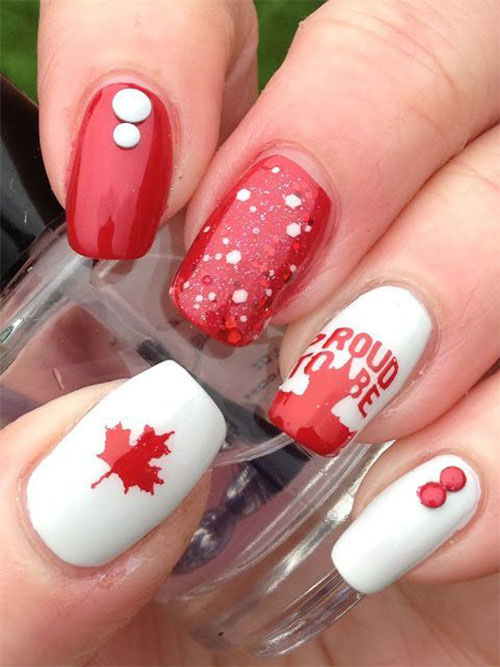 Art Designs: 18 Canada Day Nails Art Designs & Ideas 2018