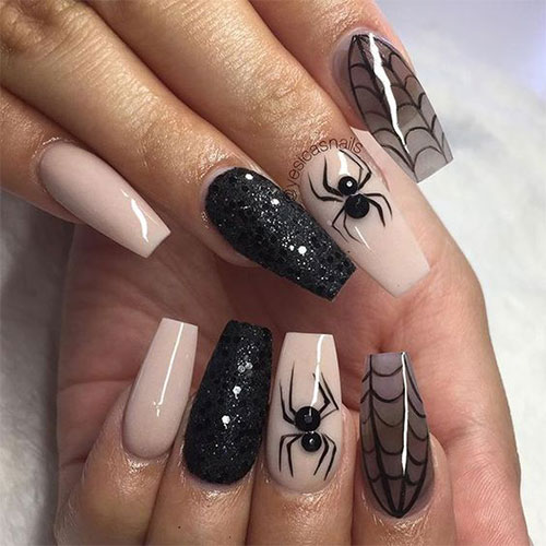 12+ Halloween Coffin Nails Art Designs & Ideas 2018