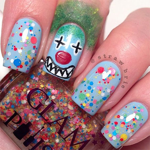 15-Scary-Halloween-Creepy-Clown-Nails-Art-Designs-Ideas-2018-10