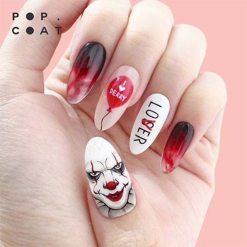 15-Scary-Halloween-Creepy-Clown-Nails-Art-Designs-Ideas-2018-11