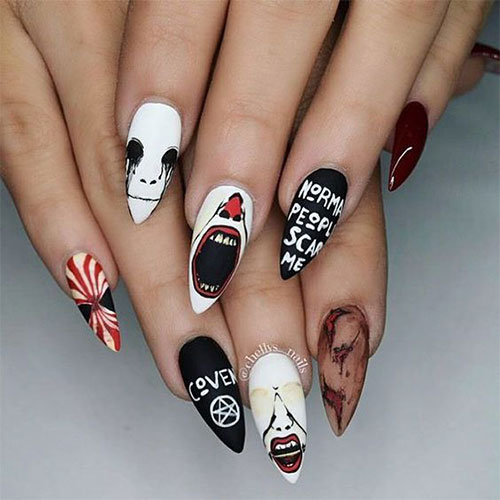 15-Scary-Halloween-Creepy-Clown-Nails-Art-Designs-Ideas-2018-13