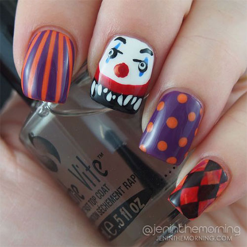 15-Scary-Halloween-Creepy-Clown-Nails-Art-Designs-Ideas-2018-14