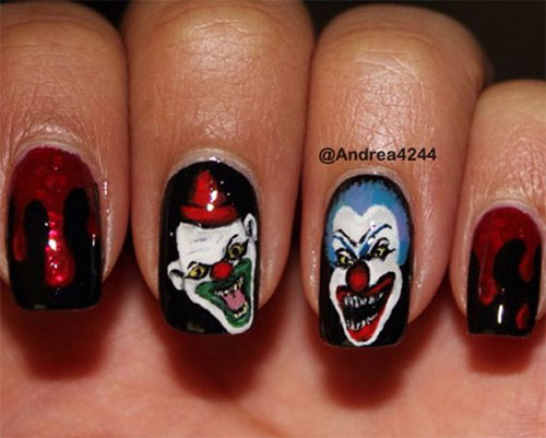 15-Scary-Halloween-Creepy-Clown-Nails-Art-Designs-Ideas-2018-4