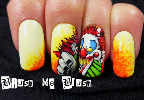15-Scary-Halloween-Creepy-Clown-Nails-Art-Designs-Ideas-2018-5
