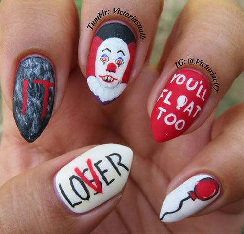 15-Scary-Halloween-Creepy-Clown-Nails-Art-Designs-Ideas-2018-6