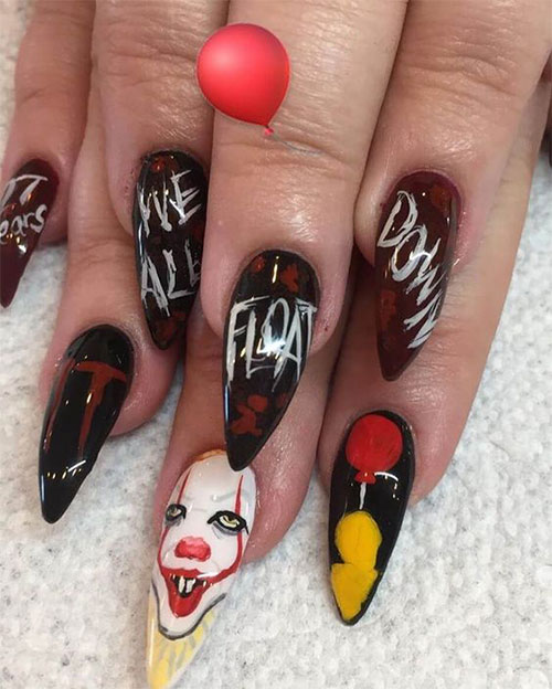 15-Scary-Halloween-Creepy-Clown-Nails-Art-Designs-Ideas-2018-7