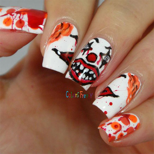 15 Scary Halloween Creepy Clown Nails Art Designs Amp Ideas 2018 Fabulous Nail Art Designs