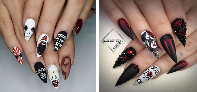 15-Scary-Halloween-Creepy-Clown-Nails-Art-Designs-Ideas-2018-F