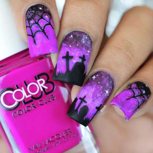 Nail Colors Halloween: 18 Halloween Spider Nail Art Designs & Ideas 2018