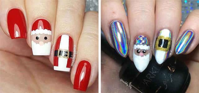 Blue Christmas Nail Art Designs