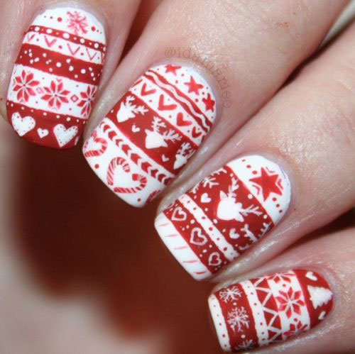 15-Ugly-Christmas-Sweater-Nail-Art-Designs-Ideas-2018-1