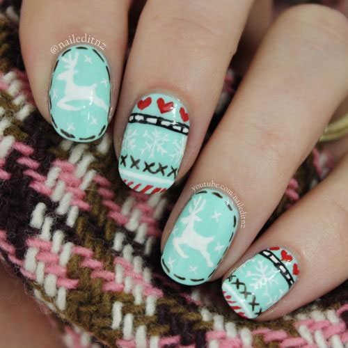15-Ugly-Christmas-Sweater-Nail-Art-Designs-Ideas-2018-10