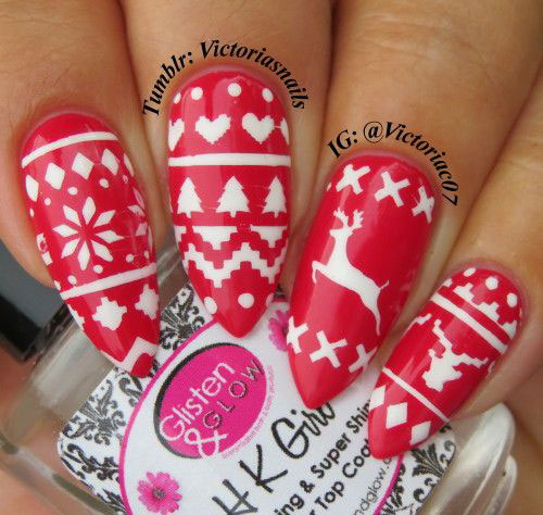 15-Ugly-Christmas-Sweater-Nail-Art-Designs-Ideas-2018-13