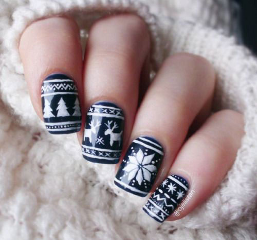 15-Ugly-Christmas-Sweater-Nail-Art-Designs-Ideas-2018-4