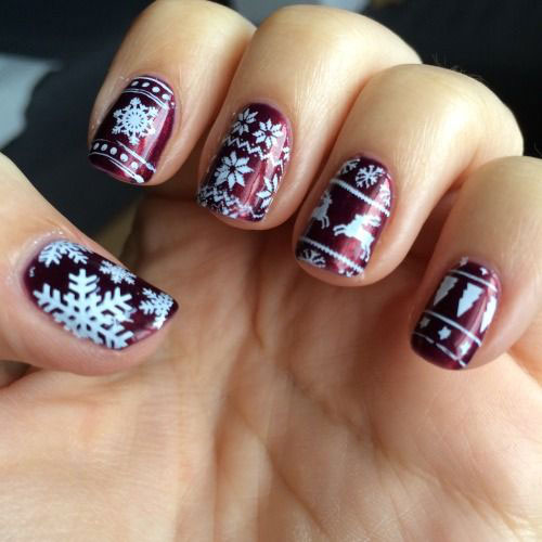 15-Ugly-Christmas-Sweater-Nail-Art-Designs-Ideas-2018-9