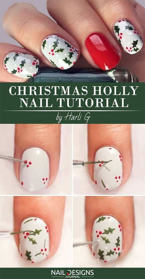 20 Easy Simple Christmas Nail Art Tutorials For Beginners