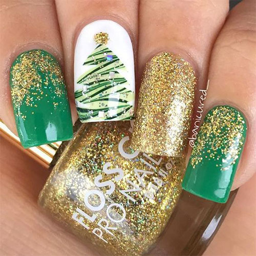Christmas Tree Nail Art 2018