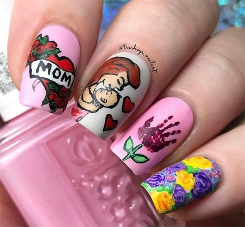 20-Best-Mother's-Day-Nails-Art-Designs-Ideas-2019-7