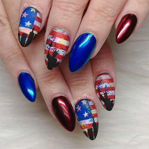 American-Flag-Nail-Art-Designs-Ideas-2019-4th-of-July-Nails-3