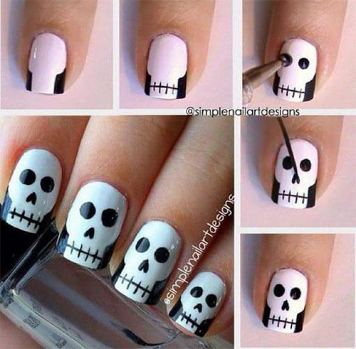 Easy Step By Step Halloween Nails Art Tutorials For