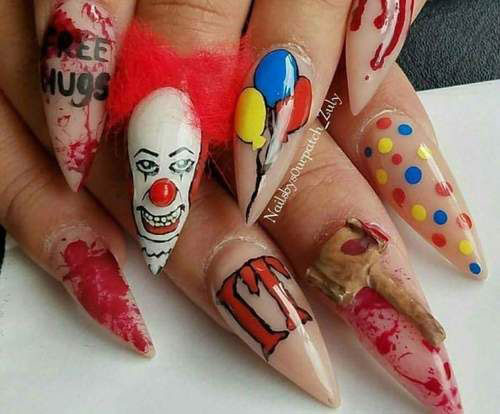 halloween creepy clown nails art 2019 fabulous nail art