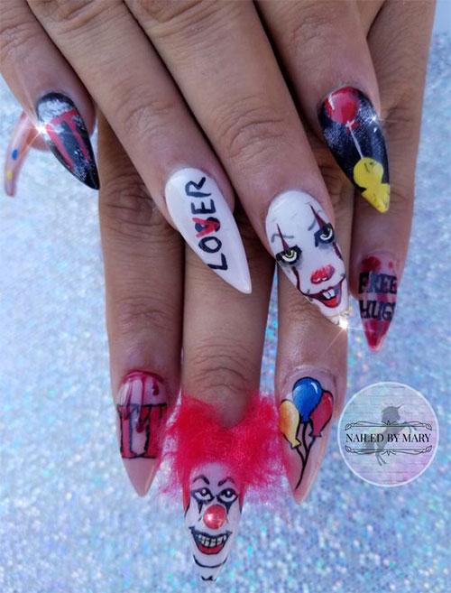 Halloween Creepy Clown Nails Art 2019 Fabulous Nail Art