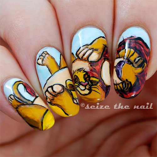 The-Lion-King-Nail-Art-Designs-Ideas-Trends-2019-The-Lion-King-Nails-1