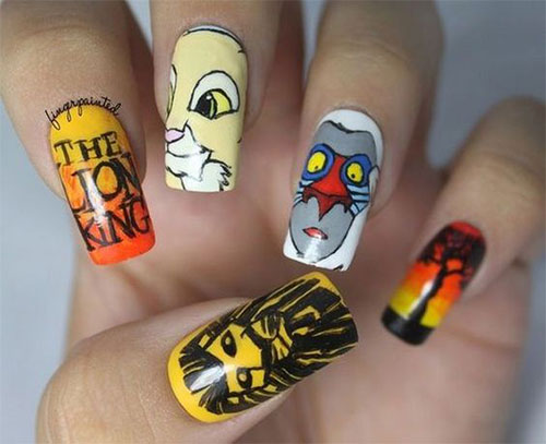 The-Lion-King-Nail-Art-Designs-Ideas-Trends-2019-The-Lion-King-Nails-9