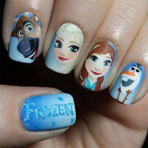 30-Disney-Frozen-Nails-Art-Designs-2019-1