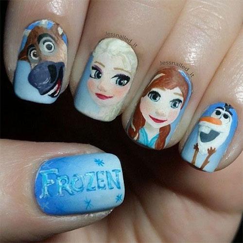 30-Disney-Frozen-Nails-Art-Designs-2019-1