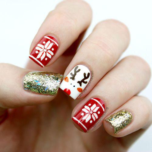 Christmas-Reindeer-Nail-Art-Designs-2019-Holiday-Nails-11