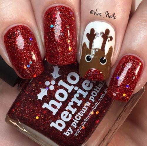Christmas-Reindeer-Nail-Art-Designs-2019-Holiday-Nails-13