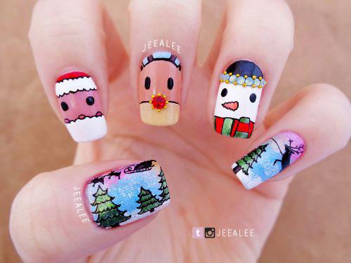 Christmas-Snowman-Nail-Art-Ideas-2019-Xmas-Nails-5