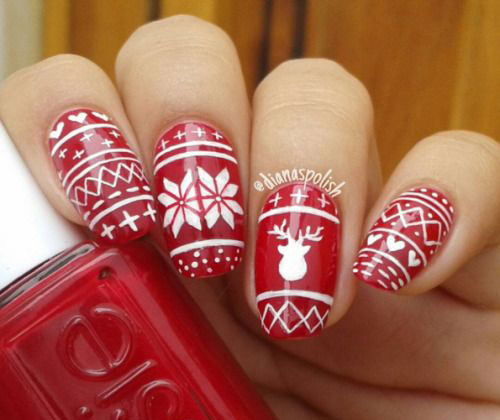 Ugly-Christmas-Sweater-Nail-Art-Designs-2019-Holiday-Nails-9