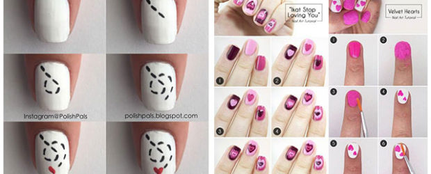 Step-By-Step-Valentine's-Day-Nail-Art-Tutorials-For-Learners-2020-F