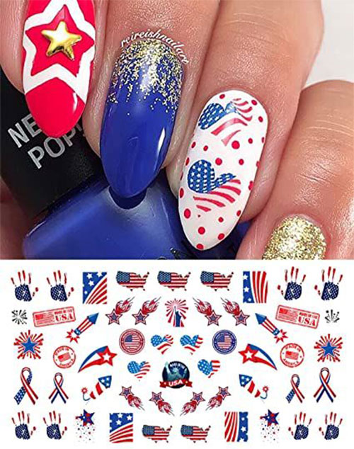 4th-of-July-Nails-Art- Stickers-Decals-2020-6