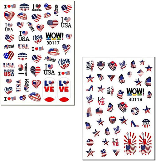 4th-of-July-Nails-Art- Stickers-Decals-2020-7