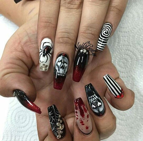 Black-Halloween-Coffin-Nail-Art-Designs-2020-10
