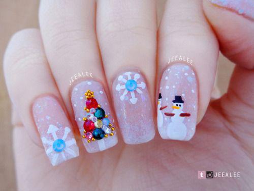 Christmas-Snowman-Nail-Art-Ideas-2020-Holiday-Nails-13