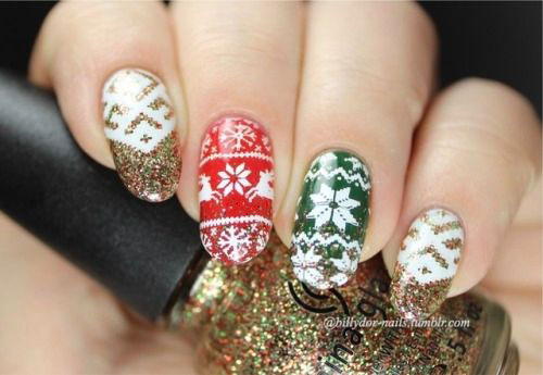 Ugly-Christmas-Sweater-Nail-Art-Designs-2020-December-Nails-14