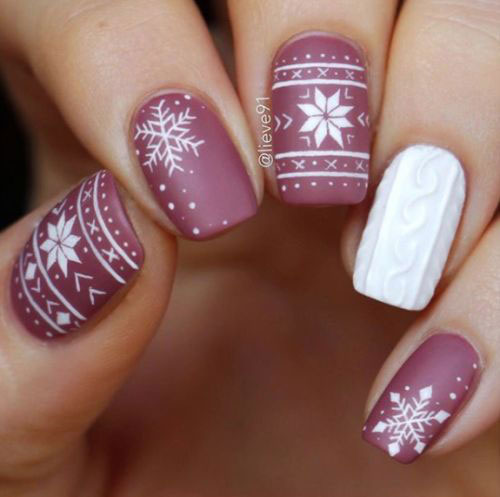 Ugly-Christmas-Sweater-Nail-Art-Designs-2020-December-Nails-2