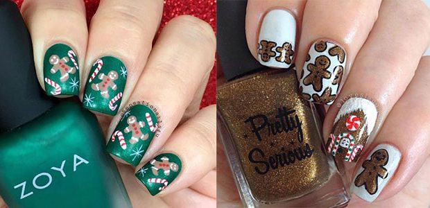 Gingerbread Men Christmas Nails Art 2020
